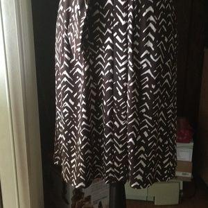 Chaps Dresses - Chaps Brown & White Print Faux Wrap V-Neck Dress